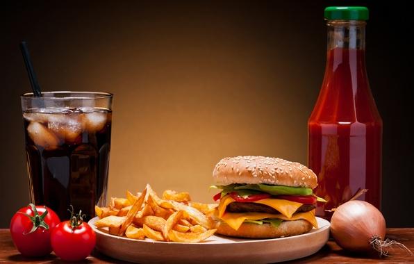 Картинка лед, сыр, лук, овощи, помидоры, гамбургер, котлета, кетчуп, кока-кола, кунжут, фаст фуд, булочка, картошка, fast …