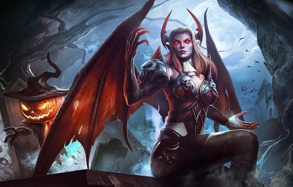 Картинка девушка, ночь, магия, демон, Halloween, тыква, суккуб, order & chaos online