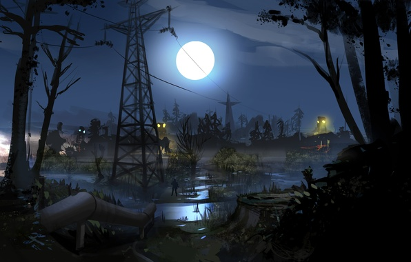 Картинка ночь, трубы, луна, болото, солдат, Сталкер, зона, украина, STALKER 2