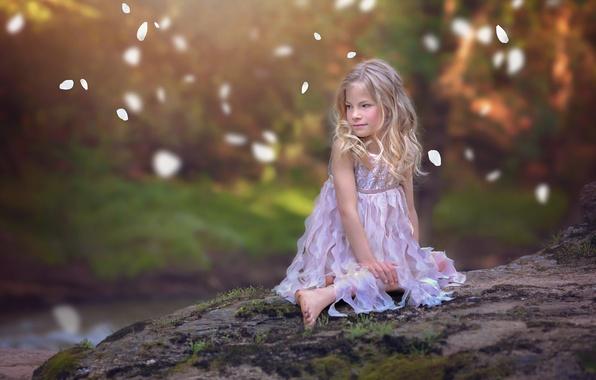 Картинка настроение, лепестки, платье, девочка, боке