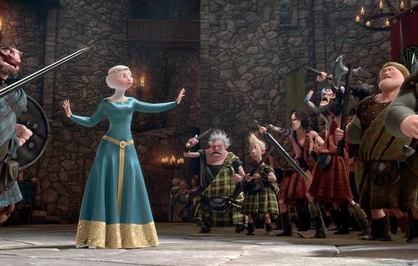 Картинка замок, мультфильм, свечи, Шотландия, лучница, Disney, Pixar, Пиксар, воины, принцесса, red hair, королева, Scotland, король, …