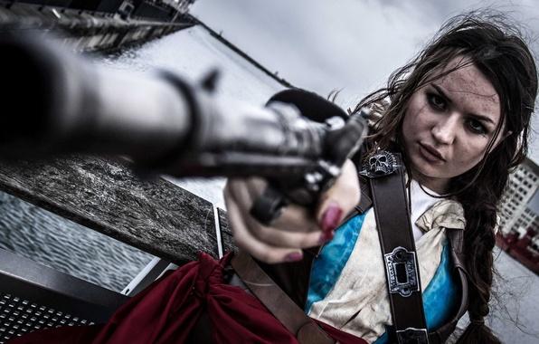 Картинка девушка, пистолет, ситуация