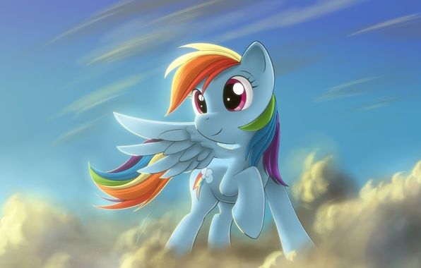 Картинка пони, облока, Rainbow Dash, My little pony