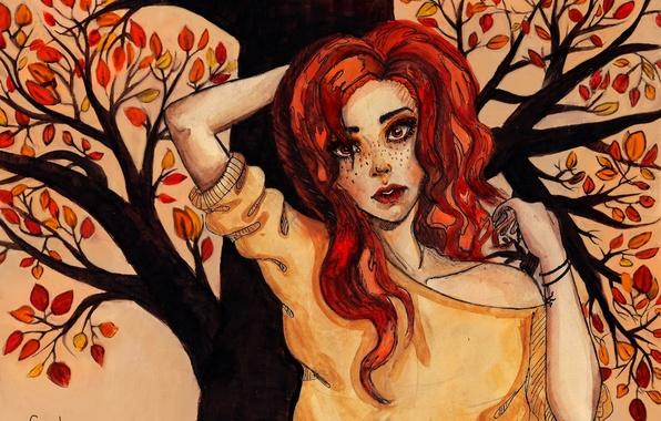 Картинка осень, взгляд, листья, девушка, лицо, дерево, волосы, руки, веснушки, рыжая, живопись, кофта
