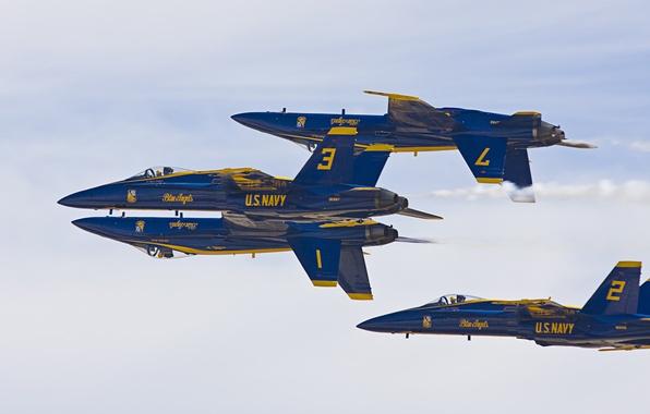 "Картинка фигура, пилотажная группа, Самолёт, Blue Angels, F/A-18 ""Хорнет"", истребители-бомбардировщики"