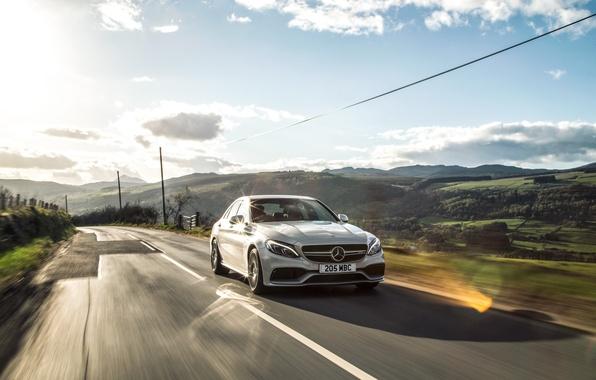Картинка Mercedes, мерседес, AMG, амг, UK-spec, 2015, W205, C 63 S