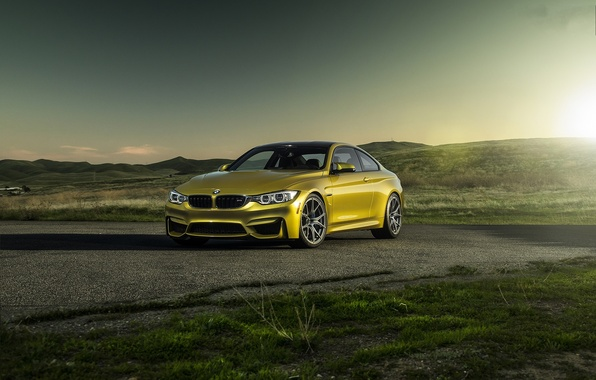 Картинка закат, жёлтый, bmw, бмв, купе, тень, yellow, f82