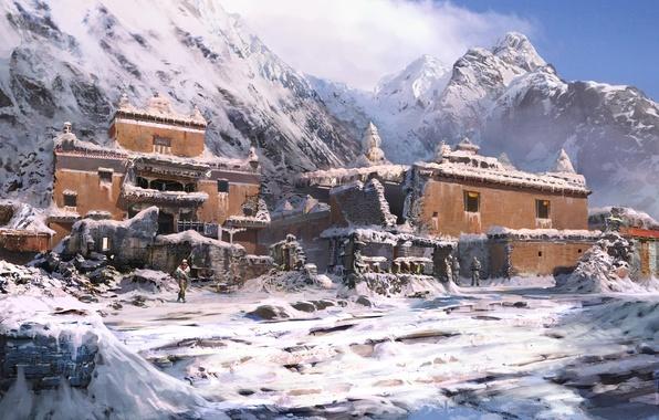 Картинка зима, горы, замок, здание, far cry 4