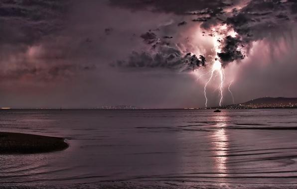 Картинка море, ночь, молния, гром