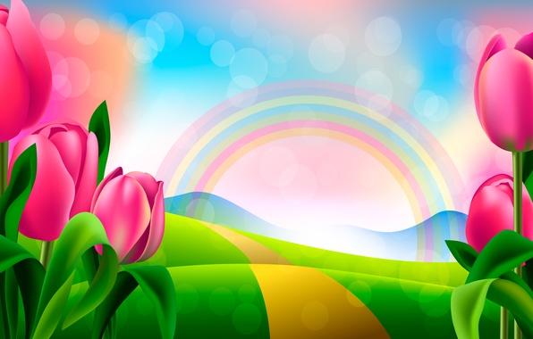 Картинка рисунок, радуга, тюльпаны
