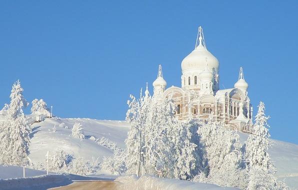 Картинка иней, деревья, Зима, храм, Белогорье