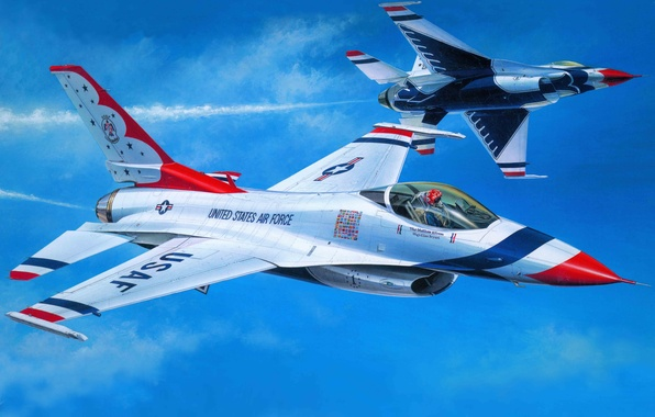 Картинка самолет, истребитель, арт, США, ВВС, Air, Буревестники, Thunderbirds, F-16C, пилотажная, эскадрилья, Demonstration, Squadron., тандербердс, демонстрационная