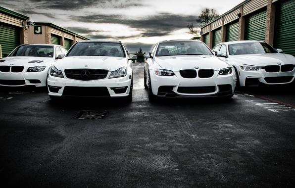 Картинка BMW, Mercedes, white, AMG, e90, 328i, F30, C63, 330