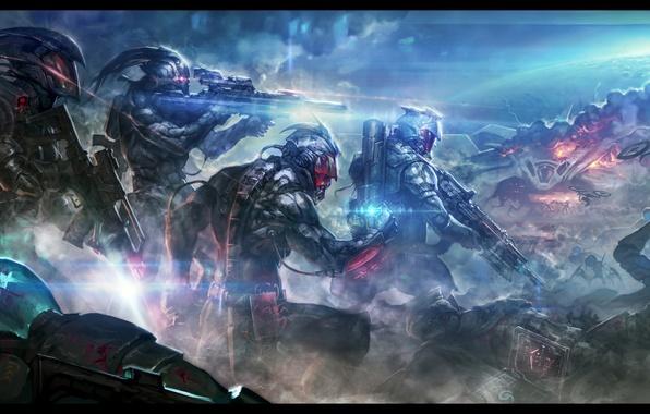 Картинка смерть, оружие, фантастика, война, бой, солдаты, броня, битва, киборг, наемники