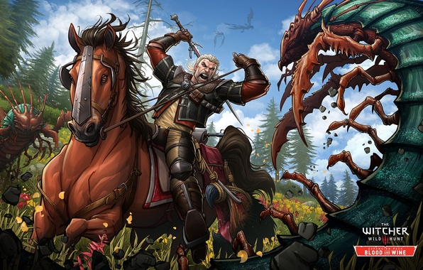 Картинка атака, лошадь, меч, ведьмак, art, Witcher, Gwynbleidd, Patrick Brown, PatrickBrown, Wild Hunt, Geralt of Rivia, ...