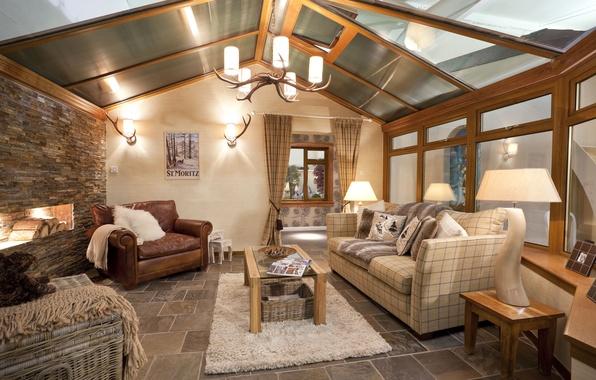 Картинка дизайн, дом, стиль, вилла, интерьер, камин, коттедж, гостиная