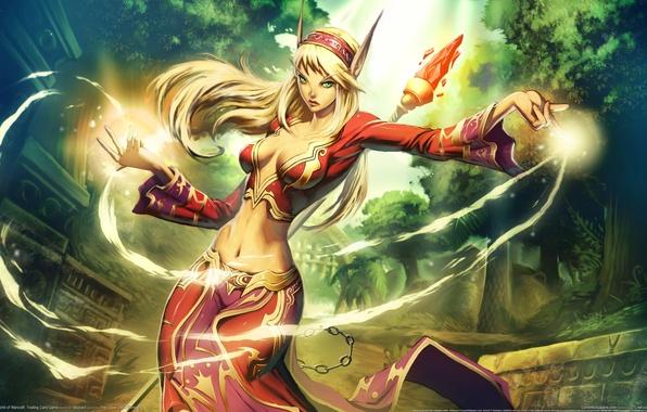 Картинка девушка, город, магия, эльф, посох, эльфийка, уши, world of warcraft