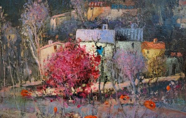 Картинка пейзаж, цветы, город, дом, картина