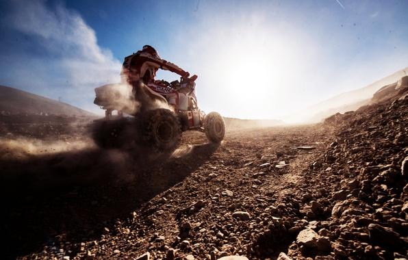 Картинка Солнце, Небо, Спорт, Скорость, Гонка, Квадроцикл, День, Мото, Rally, Dakar