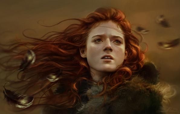 Картинка девушка, лицо, перья, арт, веснушки, рыжая, Game of Thrones, Ygritte