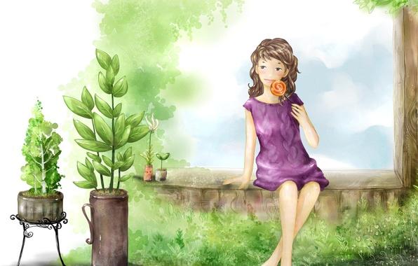 Картинка лето, настроение, отдых, рисунок, девочка, на даче, каникулы