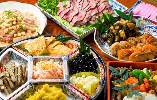 Картинка овощи, морепродукты, японская кухня, блюда, ассорти