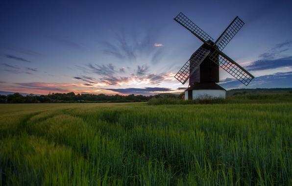 Картинка небо, трава, облака, деревья, рассвет, поляна, Поле, утро, мельница