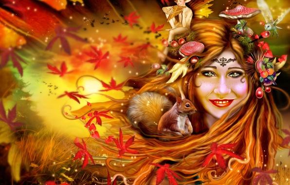 Картинка осень, листья, девушка, сова, эльф, грибы, белка