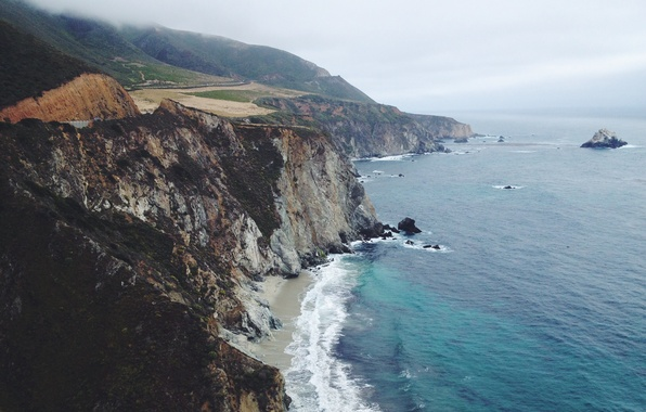 Фото обои Сан-Симеон, туман, дорога, береговая линия, пляж, островок, волны, Соединенные Штаты, скалы, Калифорния