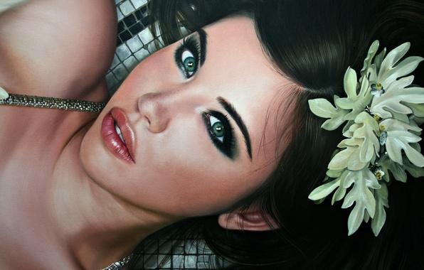 Картинка цветок, глаза, взгляд, девушка, лицо, волосы, губы, лежит, красивая, живопись, Christiane Vleugels