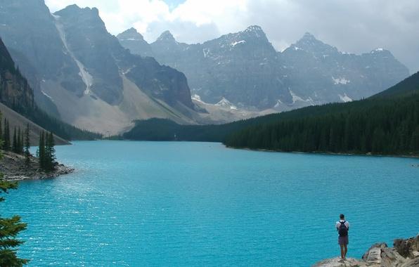 Картинка Вода, Горы, Деревья, Человек, Камни, Пейзаж, Леса
