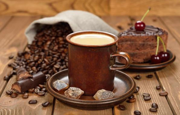 Картинка кофе, шоколад, пирожное, кофейные зерна