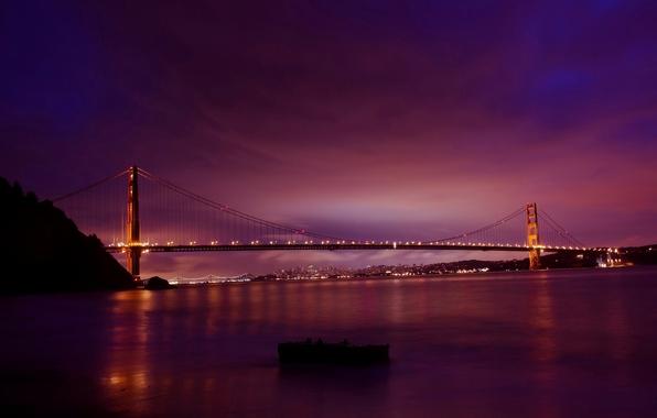 Картинка дорога, небо, вода, солнце, мост, город, огни, рассвет, утро, освещение, шоссе, Калифорния, залив, Сан-Франциско, Золотые …