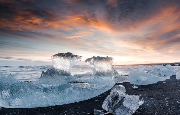 Картинка море, пляж, свет, камни, лёд, Исландия, ледниковая лагуна Йёкюльсаурлоун