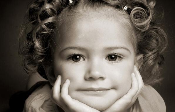 Картинка глаза, лицо, улыбка, волосы, ребенок, портрет, девочка