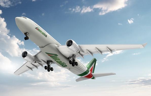 Картинка небо, облака, Аэропорт, Италия, самолёт, взлёт, Airbus, A-330, Alitalia
