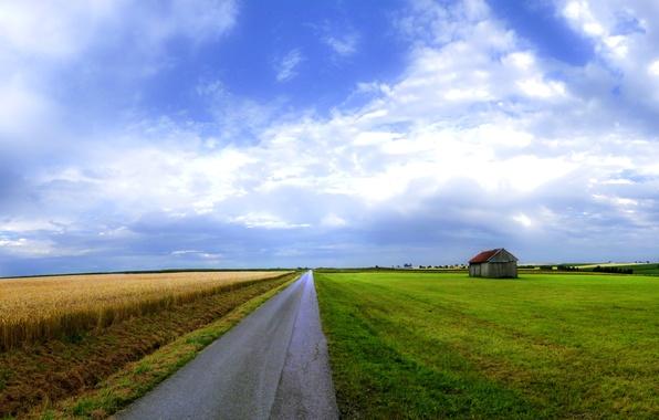 Картинка дорога, поле, небо, дом, красота, широкоформатные обои