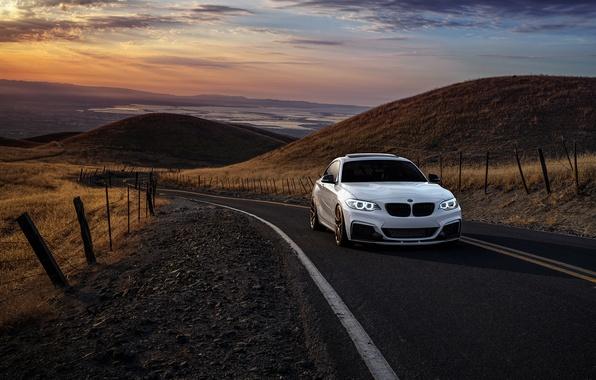 Картинка BMW, Car, Front, Sunset, Sunrise, Mountains, Wheels, Avant, M235i, Garde, San Jose