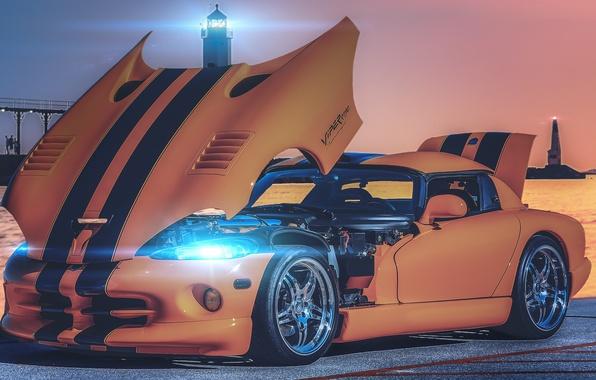 Картинка оранжевый, блики, маяк, перед, Dodge, Viper, додж, вайпер, front, orange, SRT10, открытый капот