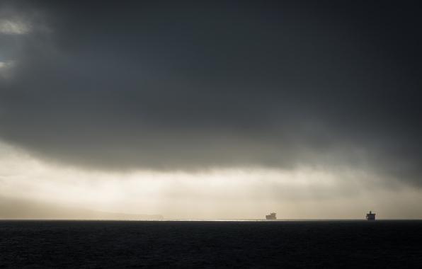 Фото обои пейзаж, корабли, туман, море