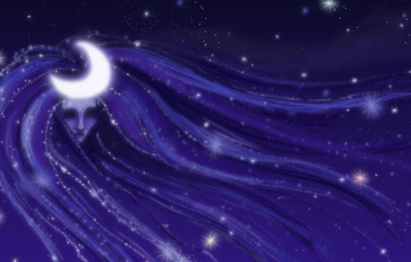 Картинка небо, девушка, звезды, свет, ночь, фантастика, луна