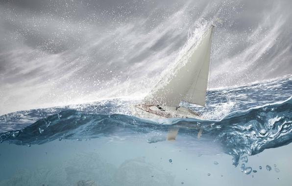Картинка море, волны, брызги, шторм, парусник