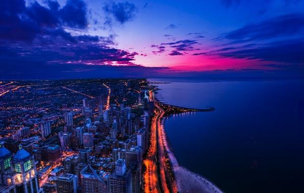 Картинка пляж, город, океан, здания, дороги, Чикаго, USA, США, Chicago, высотки, illinois, береговая линия, Иллиноис