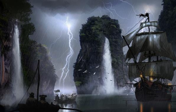 Картинка молния, лодка, корабль, водопад, арт, паруса, пираты