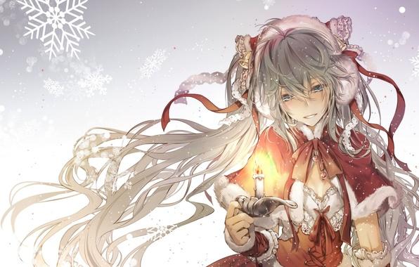 Картинка зима, девушка, ленты, праздник, свеча, аниме, арт, vocaloid, hatsune miku, kingchenxi