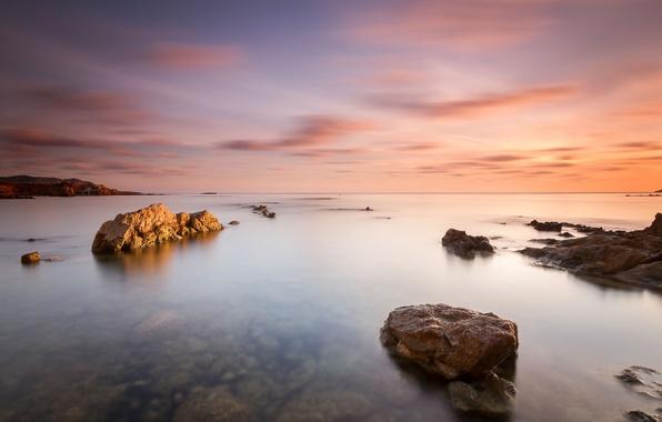 Картинка пейзаж, камни, океан, скалы, рассвет, берег