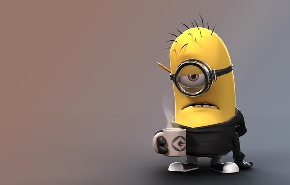 Картинка fantasy, yellow, coffee, gloves, Minion, teeth, goggles, sweatpants, salaried, bored, boredom, by floozywhoozy, pencil cup