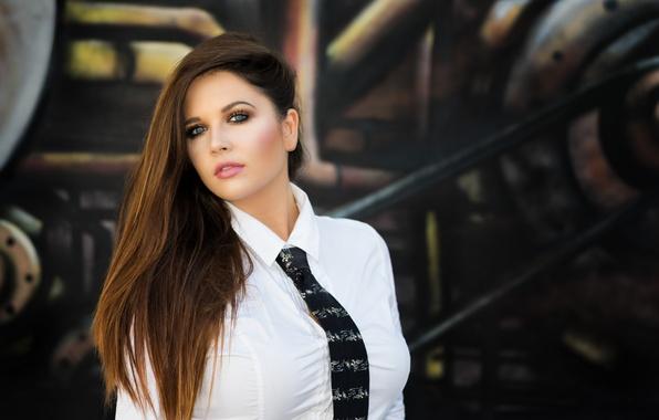 Картинка взгляд, девушка, лицо, волосы, галстук, рубашка