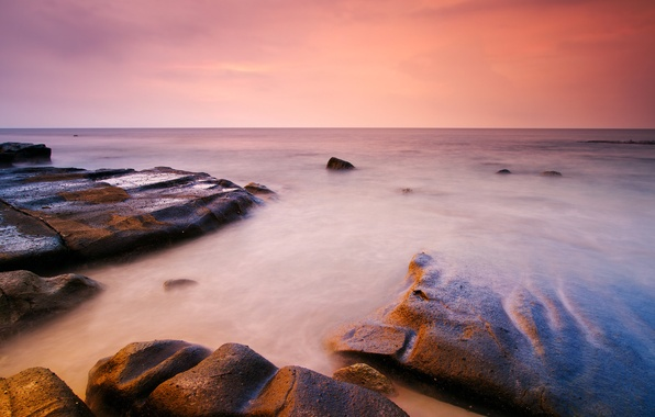 Картинка камни, океан, рассвет, горизонт