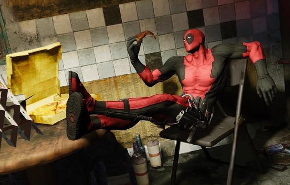 Картинка pizza, Marvel, Wade Wilson, Deadpool: The Game